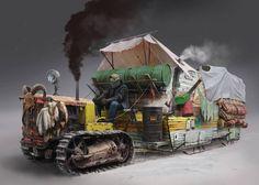 Vehicle for arctic shadowrun jobs? Apocalypse Art, Apocalypse Survival, Zombie Survival Vehicle, Post Apocalyptic Art, Arte Cyberpunk, Science Fiction, Dieselpunk, Tractors, Fantasy Art
