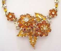 #3634 Mazer Heavily Jewelled Topaz Rhinestone Necklace at Lee Caplan Vintage Collection