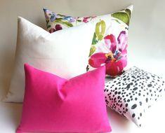 One Solid Fuchsia European Linen Decorative Zipper Pillow Cover Pink Linen Cushion Cover: 12 Sizes Black Throw Pillows, Pink Pillows, Floral Pillows, Decorative Pillow Covers, Decorative Throw Pillows, Flower Pillow, Home Decor Fabric, Fabric Samples, Handmade Pillows