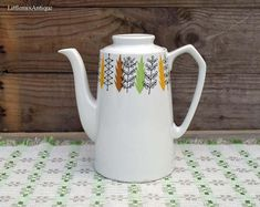 Vintage Alfred Meakin England Glo-White Coffee Pot Retro English Chinaware Collectible A Meakin Pottery Retro Coffee Time Drinkware by LittlemixAntique on Etsy