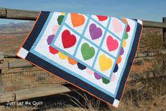 Just Let Me Quilt - Heart Quilt Diy Craft Projects, Sewing Projects, Valentine Day Crafts, Valentines, Picnic Blanket, Outdoor Blanket, Modern Quilt Patterns, Tips & Tricks, Baby Quilts