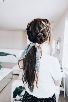 13 The Most Beautiful Double Braid Pictures & Designs Ideas - Easy Hairstyles Hair Inspo, Hair Inspiration, Scarf Hairstyles, Hairstyle Ideas, School Hairstyles, Perfect Hairstyle, Braided Ponytail Hairstyles, Pretty Hairstyles, Redhead Hairstyles