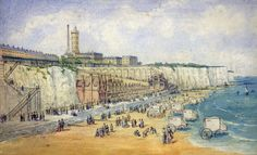 A 19th Century English School - watercolour - view of Ramsgate West Cliff, with sea bathing machines to foreground