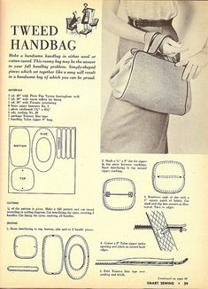 Bag1 | Photo and page 1of instructions for 1955 tweed handbag