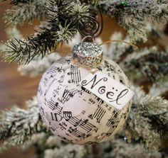 Music Paper Glitter Glass Ornament by JoaniesFavoriteThing on Etsy, $12.00  https://www.etsy.com/listing/156851617/music-paper-glitter-glass-ornament