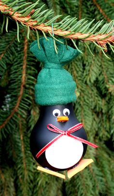 Penguin Christmas Tree Ornament made from a recycled by WeaveNSew