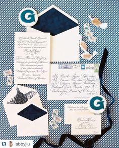 Navy Calligraphy Letterpressed Wedding invitations by Nico and Lala