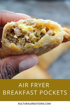 Air Fryer Breakfast Pockets- light and flaky air fryer pockets filled with sausage egg and Velveeta cheese. Air Fryer Recipes Breakfast, Air Fryer Oven Recipes, Air Frier Recipes, Airfryer Breakfast Recipes, Breakfast Ideas, Breakfast Tray, Breakfast Casserole, Breakfast Pockets, Side Dish Recipes
