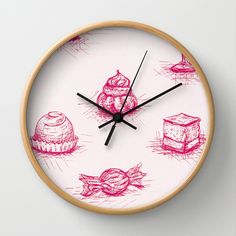 Sweet Wall Clock by Fru Kuhari - $30.00  http://society6.com/frukuhari