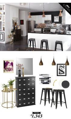 A monochromatic modern kitchen with a glam twist for only $1343 by @audreycdyer for Copy Cat Chic