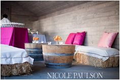 Gorgeous burlap and hay seating