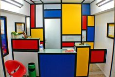 decorating with Mondrian Piet Mondrian, Mondrian Kunst, Bakery Interior, Interior Design, Cafe Design, House Design, Geometric Curtains, Red Rooms, Dutch Painters