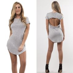 """Sexy Back"" Gray Mini I am so in love with this mini! Features back opening. The curved hem will elongate your legs. Soft fabric & Amazing quality! Gives you sexy curves & completes your casual chic look💋 Your must-have for this summer! • Also available in color Black, White and Nude • Fabric: Rayon & Spandex • BUNDLE & SAVE 10%! Wild Dreams Dresses Mini"