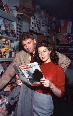 """Ava Gardner and Burt Lancaster on set of """"The Killers""""."""