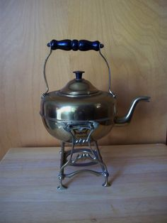 Antique TEAPOT ENGLISH Brass KETTLE Art Deco Set by HoosierPickers, $40.00 - Use Coupon Code FallFestival for 20% off.