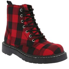 Anarchic By T.U.K. Black And Red Buffalo Check Boots | Hot Topic ($59) ❤ liked on Polyvore featuring shoes, boots, ankle booties, print boots, t.u.k., t u k boots, side zipper boots and cap toe boots