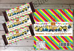 INSTANT DOWNLOAD Despicable me Minions Printable Candy Bar Wrapper, Digital PDF File for Minion Birthday Party Theme