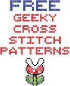 Cross stitch patterns for: Back to the Future, Mario Bros, Doctor Who, Star Wars, Legend of Zelda, and Minecraft