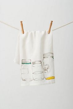 Mason Jars Dishtowel #anthropologie  This one's for you Lori. Google mason jar line drawings - WOW!