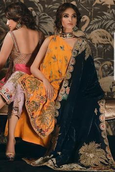 One shoulder kurti with cigarette pants and handmade black dupatta Pakistani Couture, Pakistani Bridal, Pakistani Outfits, Indian Outfits, Emo Outfits, Bridal Lehenga, Indian Attire, Indian Wear, Style Fête