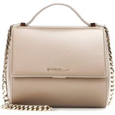 Givenchy Pandora Box Chain Leather Shoulder Bag (£1,290) ❤ liked on Polyvore featuring bags, handbags, shoulder bags, beige, givenchy handbags, beige leather purse, beige leather handbag, leather handbags and pink leather purse