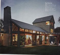 Magazine scan of a modern post-and-beam barn home, with a little feed store thrown in for good measure. I'd position the fireplace and chimney more central.