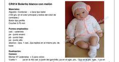 CR014 bolerito blanco.pdf Lana, Crochet Hats, Fashion, Chain Stitch, Dresses For Babies, Boleros, Chrochet, Dots, Tejidos