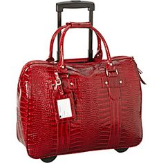 Cabrelli Patent Croco Laptop Roller Brief Red Via Ebags