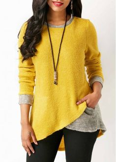 Yellow Crossover Hem Long Sleeve Blouse on sale only US$31.58 now, buy cheap Yellow Crossover Hem Long Sleeve Blouse at liligal.com