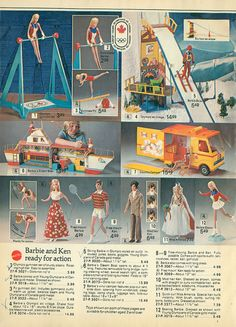 Barbie Olympic Gymnast Set, Olympic Ski Village, Dream Boat, Country Camper, Free Moving Barbie and Ken, Mod Hair Ken, Quick Curl Miss America and Olympic Ice Skater Barbie from the Eaton's (Canada) Christmas Catalog, 1975