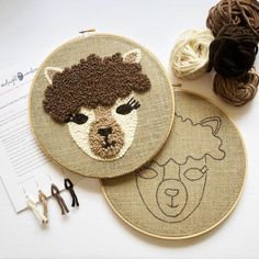Alpaca punch needle kit, llama punch needle diy gift for her Looking for your next punch needle project? Make this alpaca hoop using alpaca wool! This diy llama Cute Embroidery Patterns, Modern Embroidery, Embroidery Hoop Art, Punch Needle Kits, Punch Needle Patterns, Crochet Shrug Pattern, Crochet Patterns, Blanket Crochet, Perler Beads