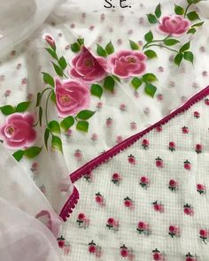Fabric Colour Painting, Fabric Painting On Clothes, Painted Clothes, Fabric Art, Saree Painting, Hand Painted Dress, Fabric Paint Designs, Embroidery Suits Design, Saree Models