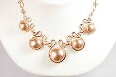 Rose Gold Statement Necklace Rose Gold Pearl by JessicaLuuJewelry