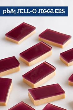 PB&J JELL-O JIGGLERS – Unflavored gelatin plus peanut butter plus marshmallows and grape-flavor JELL-O equals a dessert recipe you may never have thought of—but will be glad you tried!