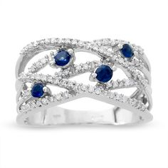 OMG, I love it!    Sapphire and Diamond Orbit Band in 14K White Gold - Zales