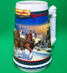 "2002 Budweiser Ceramic Holiday Stein, ""Guiding The Way Home"""