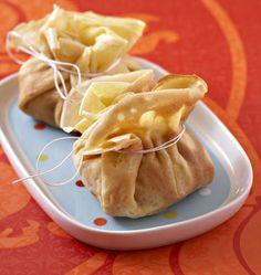 Aumônières aux fruits de mer (noix de Saint-Jacques et crevettes), la recette d'Ôdélices : retrouvez les ingrédients, la préparation, des recettes similaires et des photos qui donnent envie !