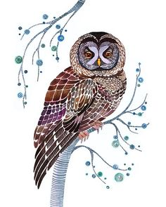 LACY OWL, I believe this is a painting-but it could be done in crewel embroidery so pretty