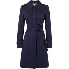 Helene Berman Single breasted trench coat ($250) ❤ liked on Polyvore featuring outerwear, coats, navy, women, navy coat, waterproof trench coat, helene berman coat, navy blue trench coat and long sleeve coat