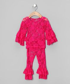 Take a look at this Hot Pink Lace Ruffle Top & Leggings - Infant & Girls by Born 4 Couture on #zulily today!