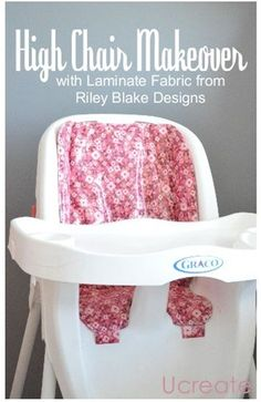 high chair makeover tutorial - make an old highchair look new with laminate fabric! u-createcrafts.com