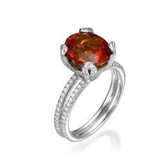 Round Cut Gemstone and Diamond Ring