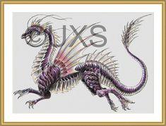 Dragon cross stitch pattern water dragon by UnconventionalX