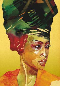 Artist: Stefana Argirova {contemporary african headdress black woman female portrait watercolor painting}