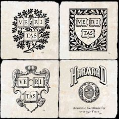 Harvard Four Coaster Set Vintage Logo Design, Vintage Logos, University Store, Crew Team, Pictogram, Graphic Design Typography, Harvard, Coaster Set, Logo Inspiration
