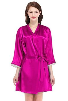 0e3ca10683 Find Dress Silky Kimono Robe Satin Robes for Women 10180BurgundyS at Amazon  Women s Clothing store