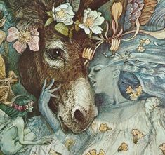 A detail of an illustration by Brian Froud of Titania and Bottom from Shakespeare's A Midsummer Night's Dream.