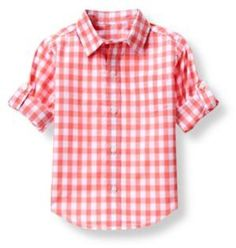 Our checked plaid shirt in soft cotton poplin features button-tab roll cuffs for versatile style. 100% Cotton Poplin Chest Pocket, Buttoned Cuffs And Shirttail Hem Center Back Pleat Machine Washable; Imported Coral Reef Quest Brand: Janie and Jack Retailer: Janie-and-Jack Similar Item Here  Price : 36.00$