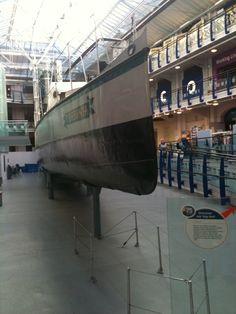 Turbinia, the first turbine-driven ship, in Newcastle Museum