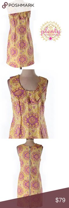"""Plenty by Tracy Reese Retro Floral Mini Dress Very 1960s retro pinup style dress with pink on yellow floral geometric designs and yellow on white baroque pattern. Very cool dress. Sleeveless with ruffle accent. Size 4. 28"""" bust 35"""" length 100% cotton. Boho bohemian gypsy hippie Save the most with bundling. I offer 25% off all bundles of 2 or more items. No trades or holds. I only do business on poshmark no other sites. I accept reasonable offers. Plenty by Tracy Reese Dresses Mini"""